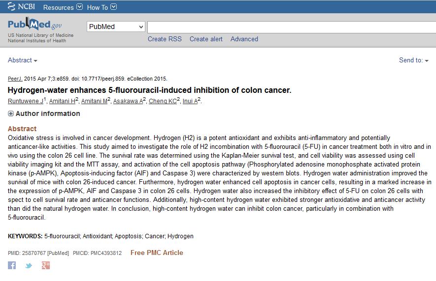effet de l'hydrogène moléculaire sur le cancer du colon