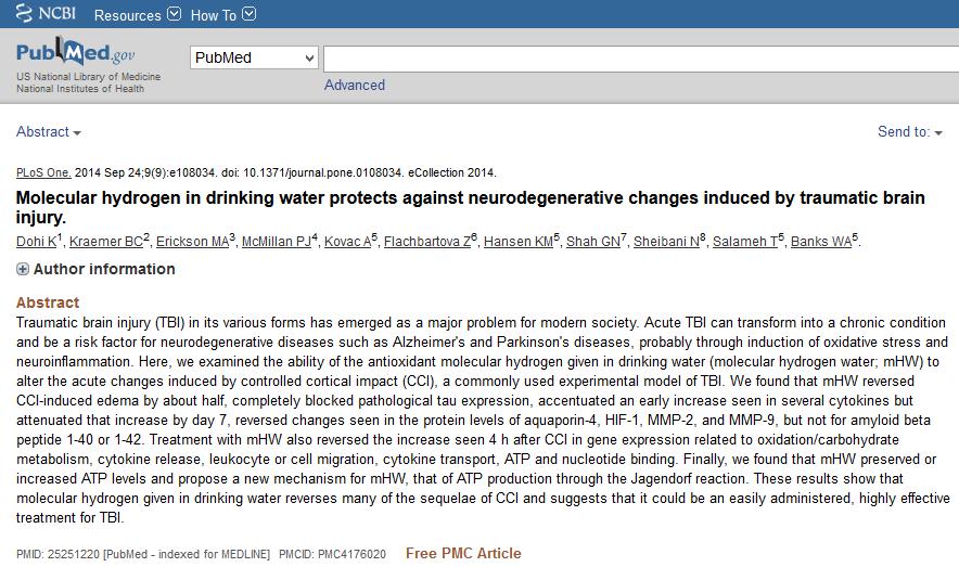 l'eau hydrogénée protège contre les changements neurodégénératifs