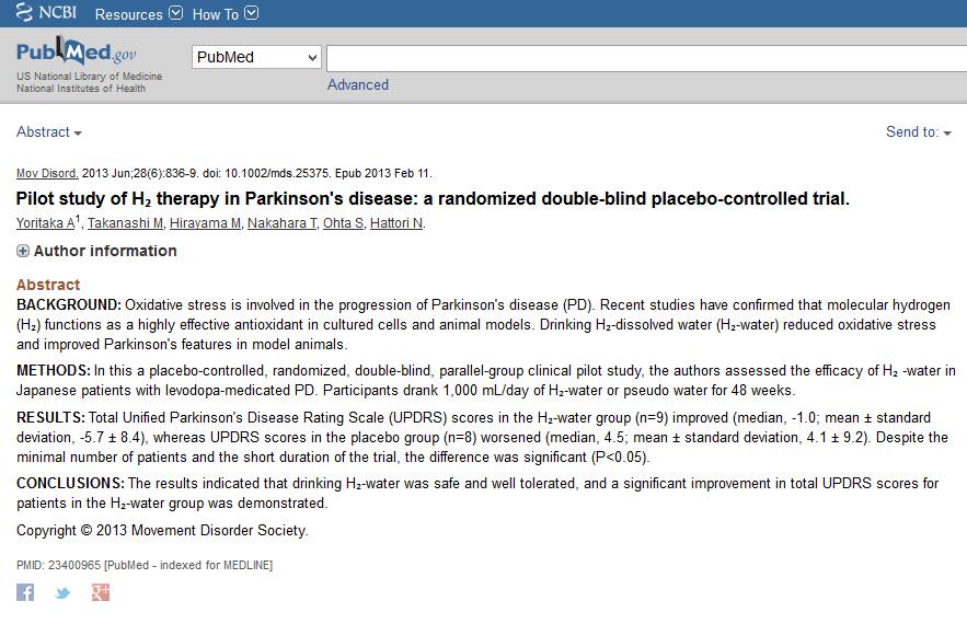 hydrogène et maladie de parkinson