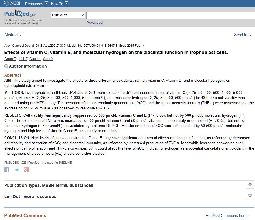 hydrogène moléculaire comparé à la vitamine C et E sur la fonction placentaire